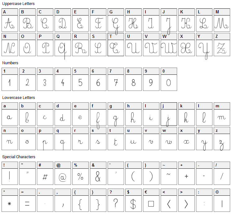 Crayon, Plume, Seyes Font Character Map