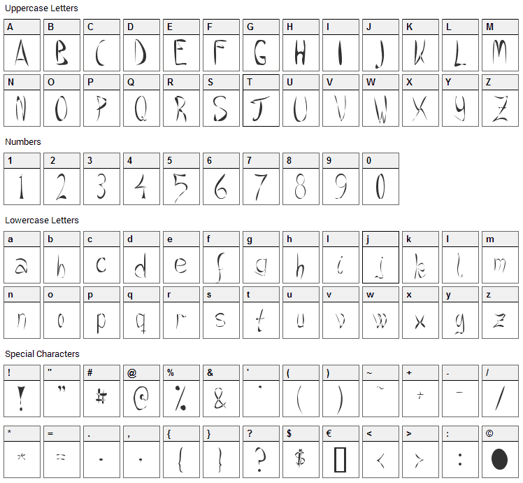 Crazee Font Character Map