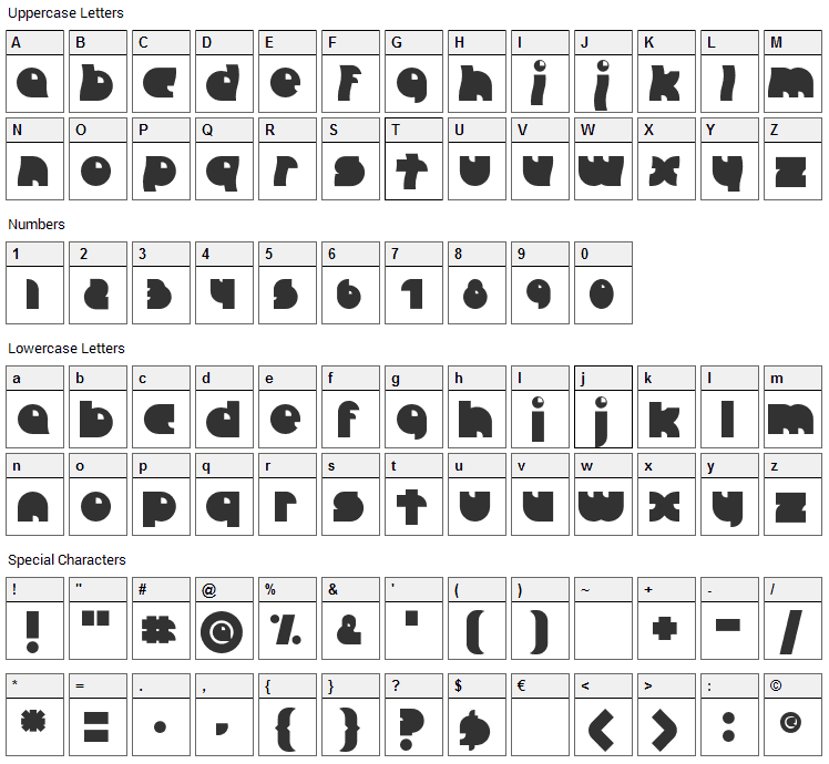 Crazy Diamond Font Character Map