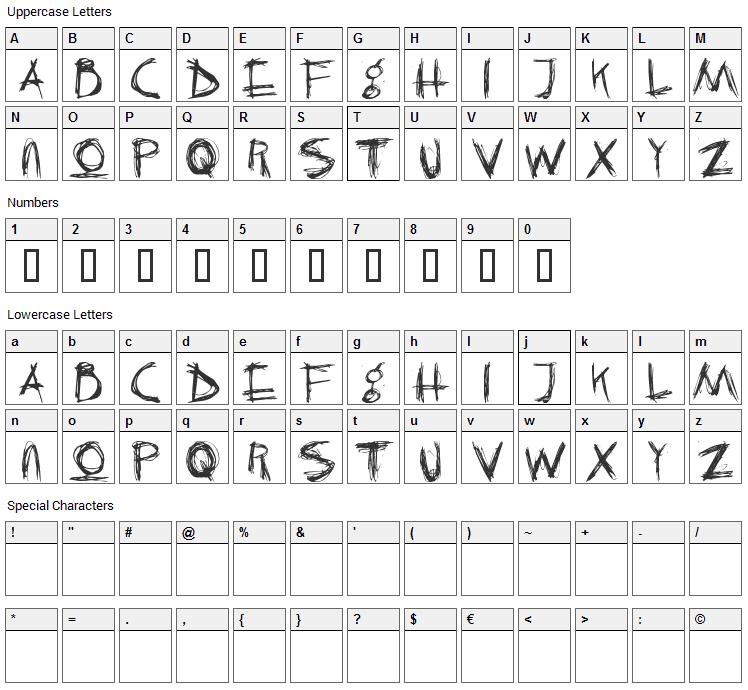Crazy Killer Font Character Map