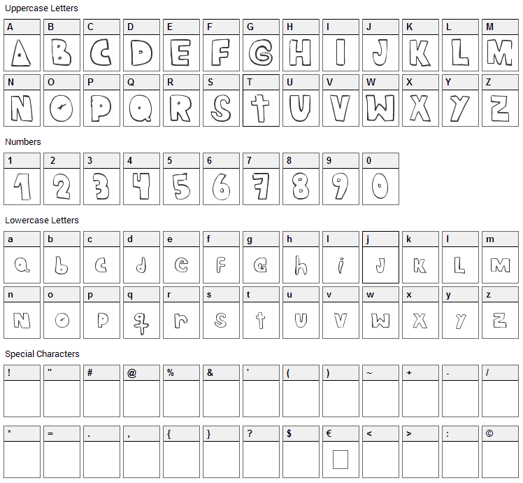 Crazy Ras Font Character Map