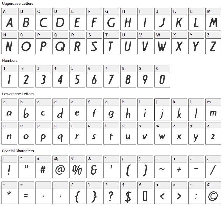 Cream Font Character Map