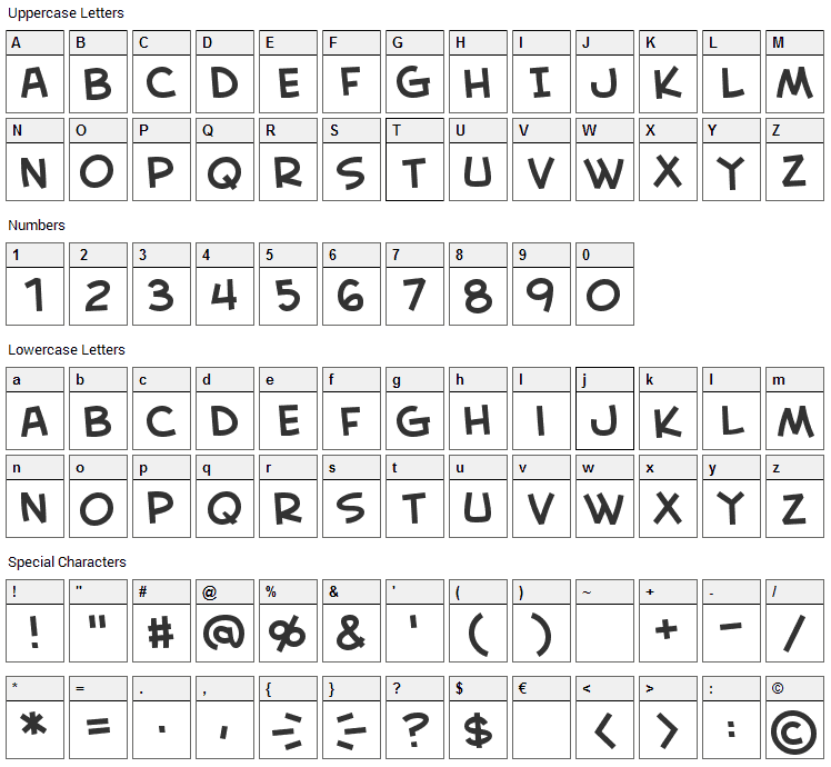 Creative Block Font Character Map
