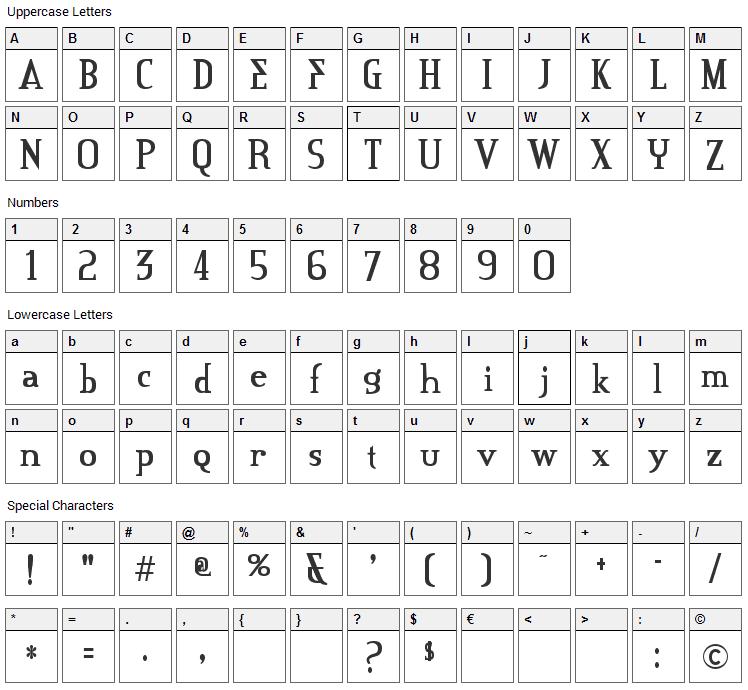 Credit River Font Character Map