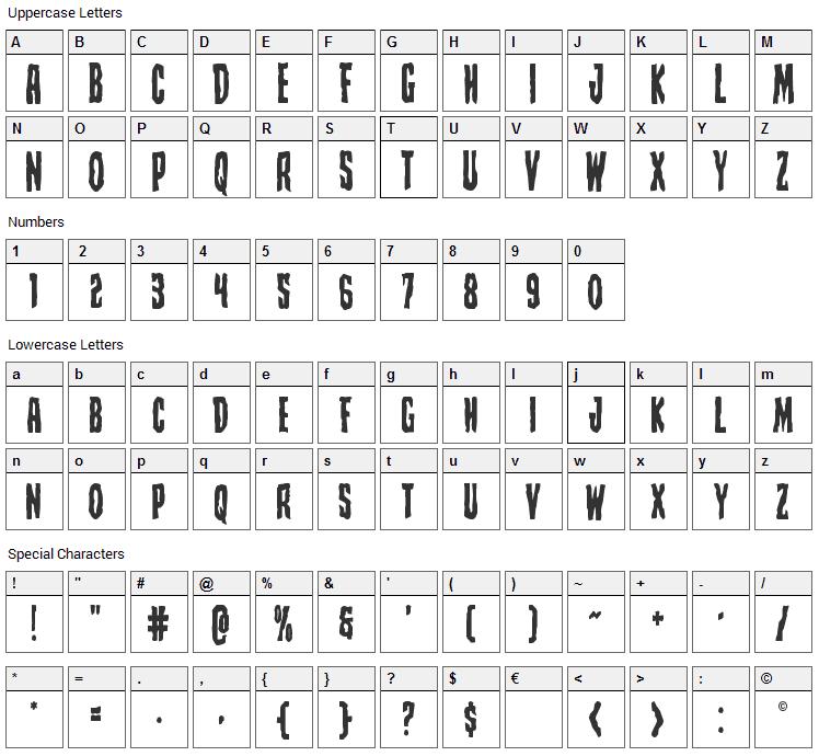 Creepy Crawlers Font Character Map