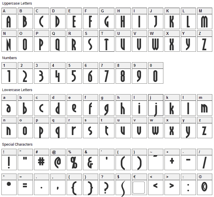 Crichton Font Character Map