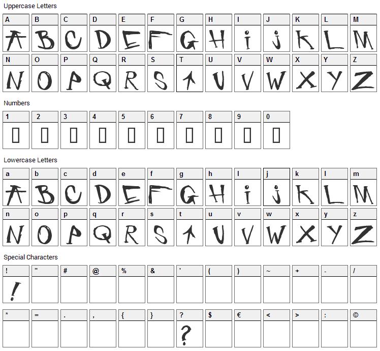 Criminal Security Font Character Map