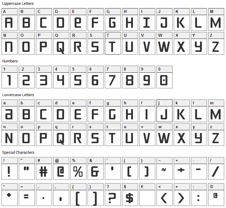 Crixus Font Character Map