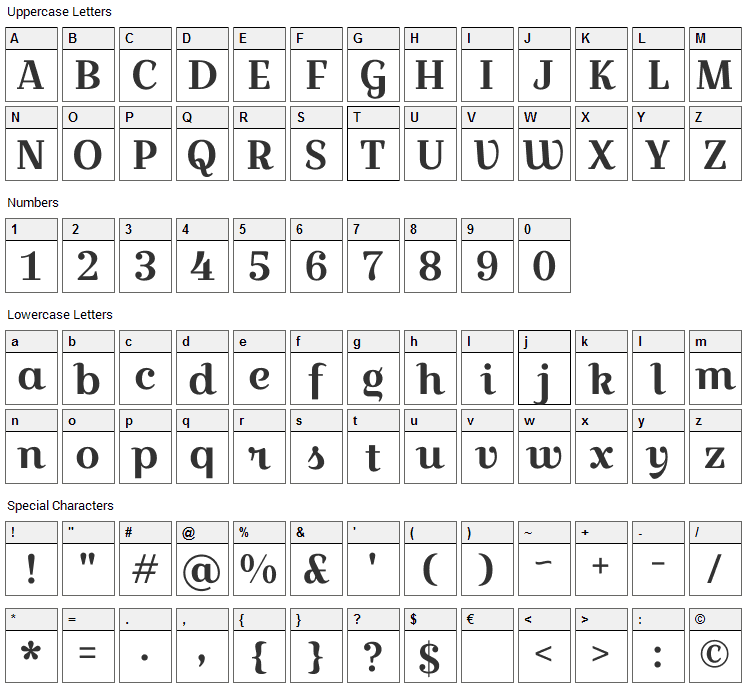 Croissant One Font Character Map
