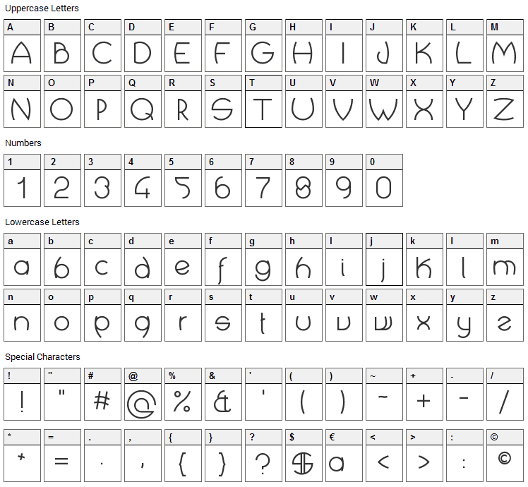 Crop Types Font Character Map