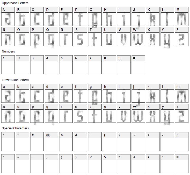 Cross Font Character Map