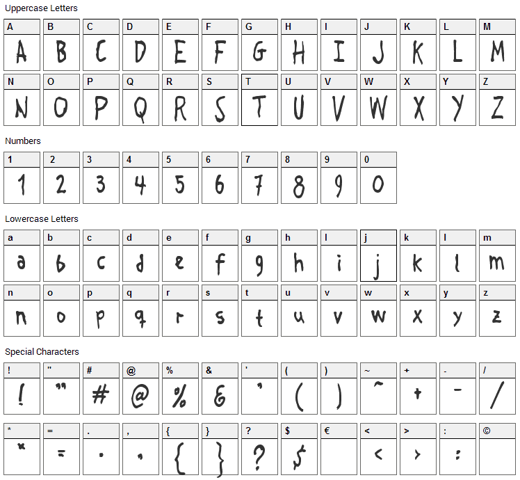 Crosspatchers Delight Font Character Map