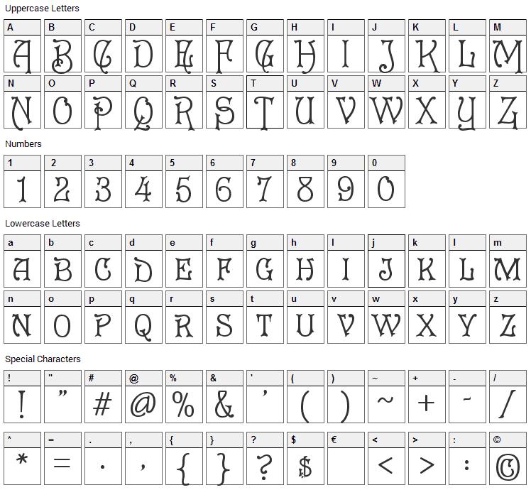 Cruickshank Font Character Map