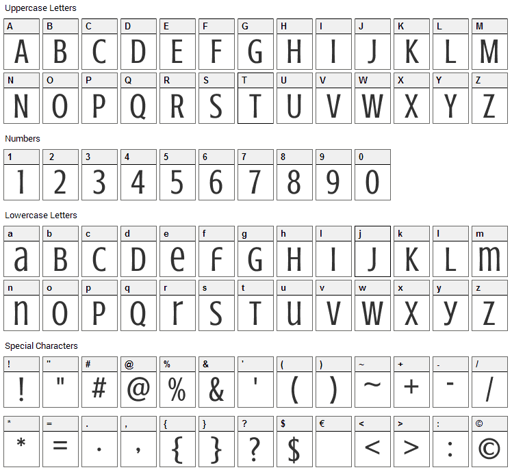 Crushed Font Character Map