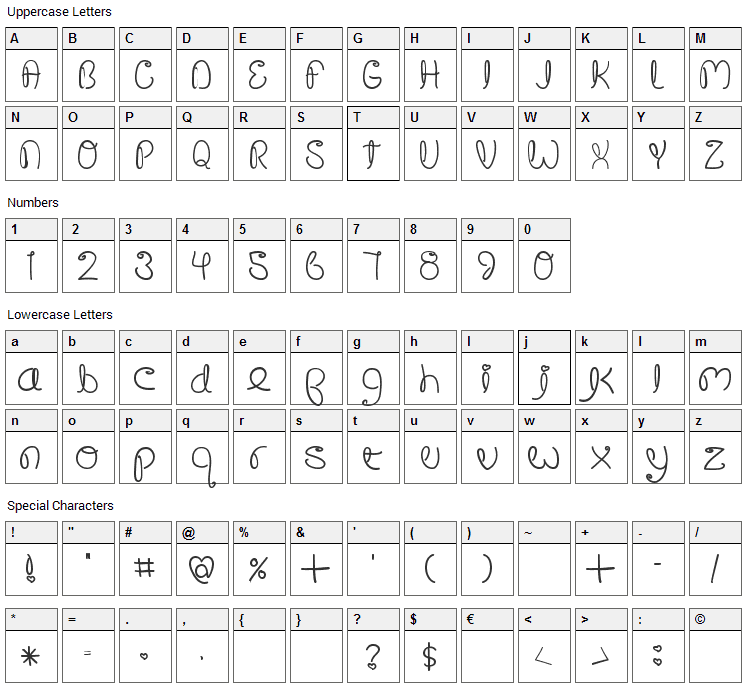 Crushed Out Girl Font Character Map