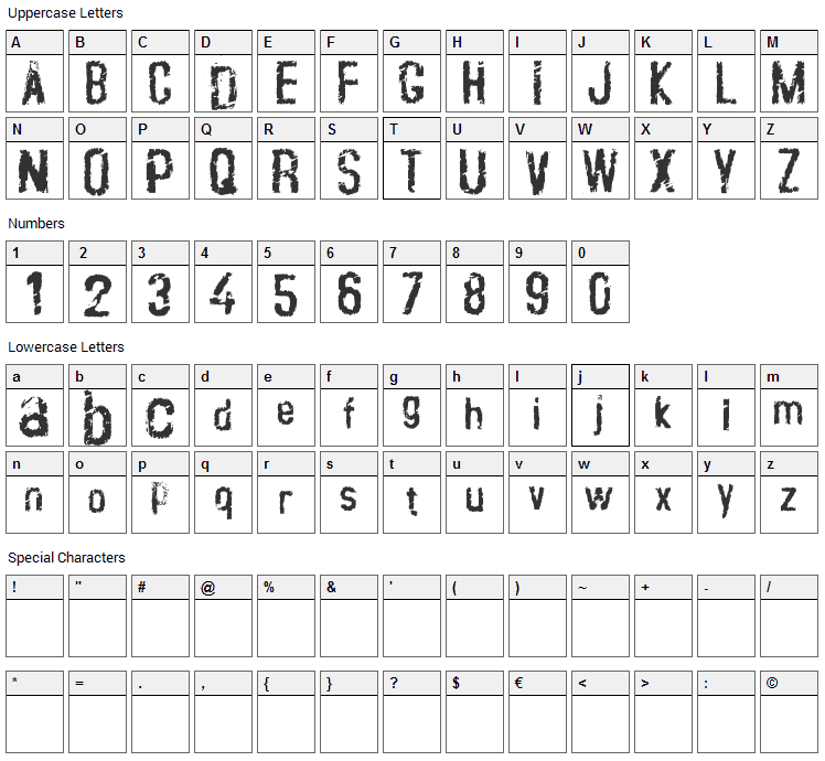 Crustype Font Character Map