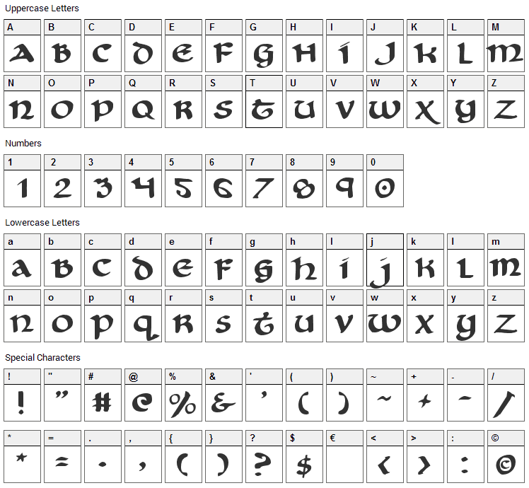 Cry Uncial Font Character Map