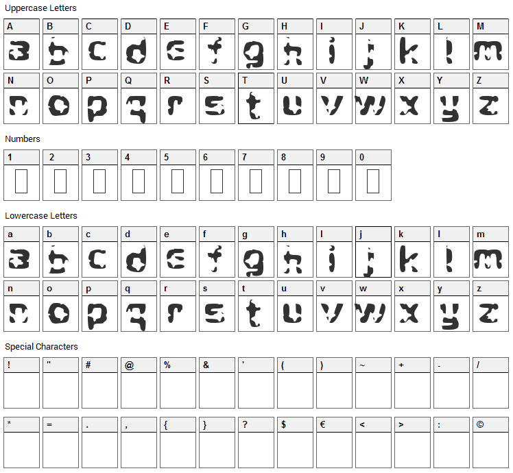 Crying Star Font Character Map