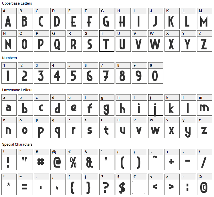 Crystal Deco Font Character Map