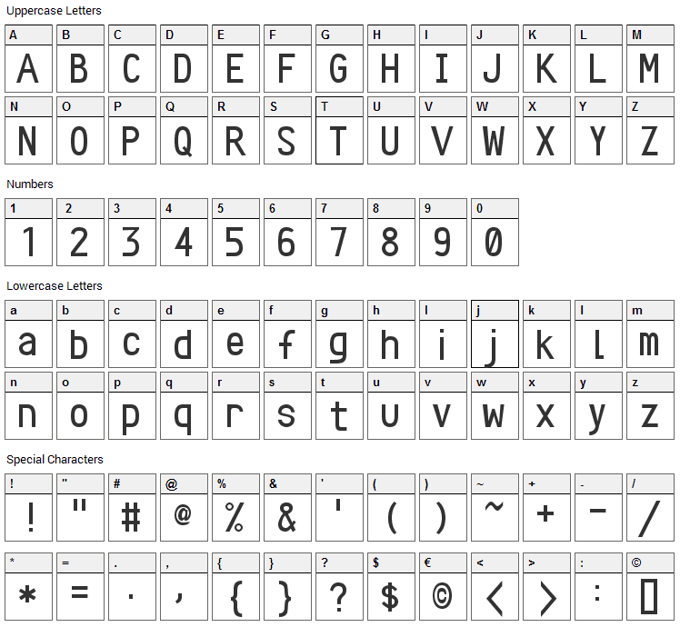 Crystal Font Character Map