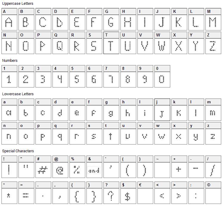 Crystal Lightning Font Character Map