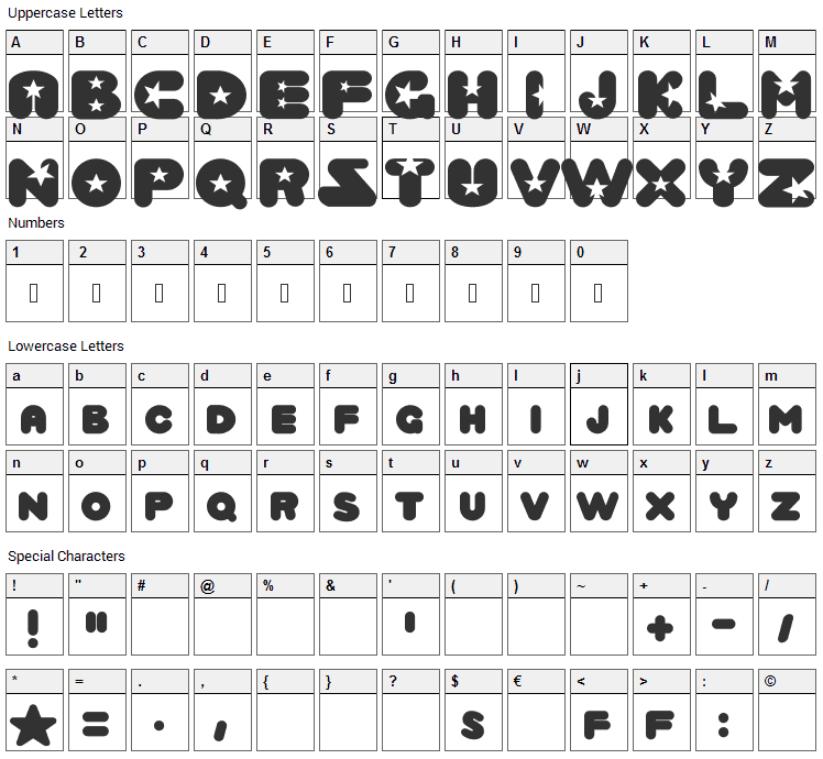 Crystal Universe Font Character Map