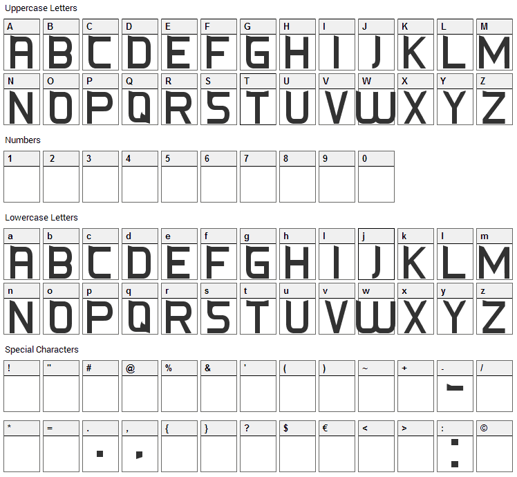 CS-Fox Font Character Map