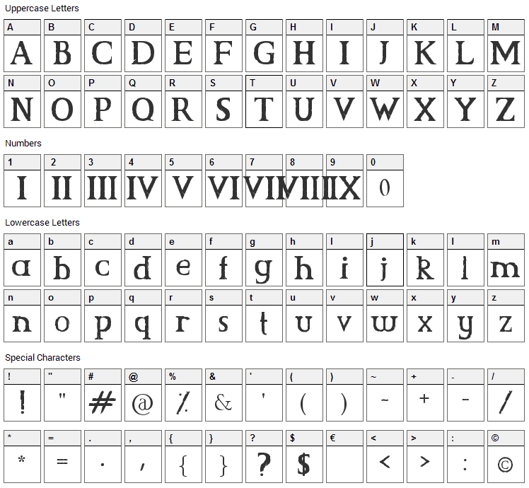 CS Grimrock Font Character Map