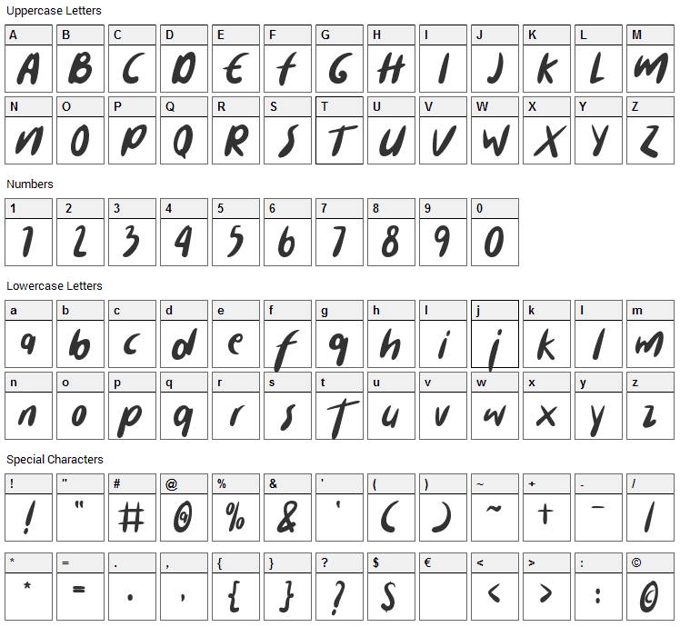 Cuanki Chunky Font Character Map