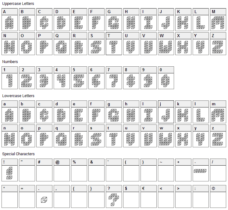 Cube Toss Font Character Map