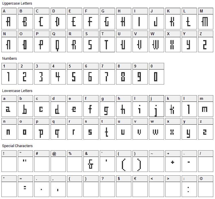 CubeBitmap Font Character Map