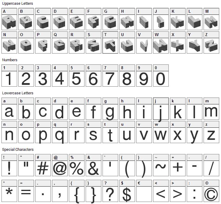 Cubefont Font Character Map