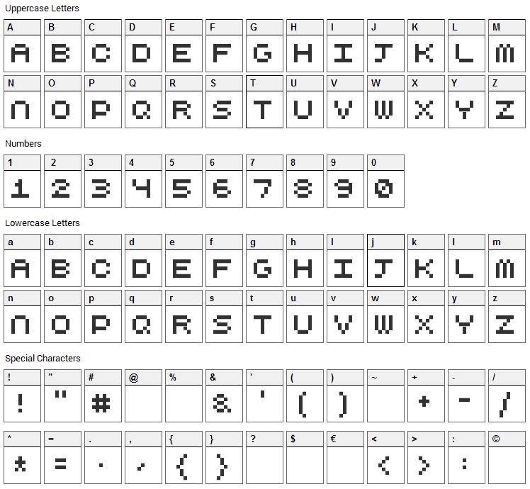 CubicFive Font Character Map