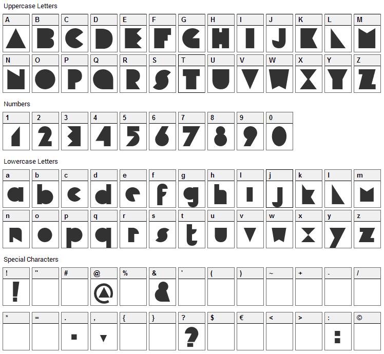 Cubop Font Character Map