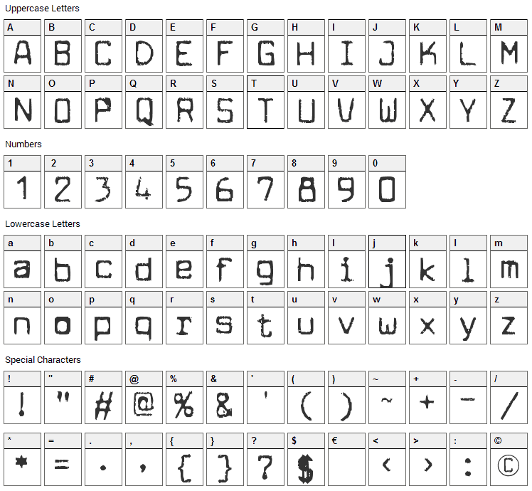 Cuomotype Font Character Map