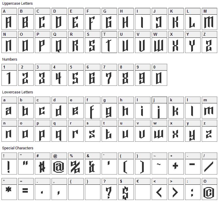 Cupra Font Character Map