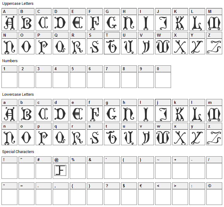 Curled Serif Font Character Map