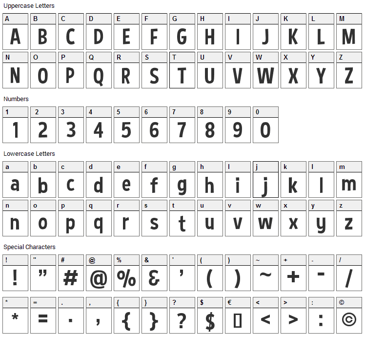 Curse Casual Font Character Map