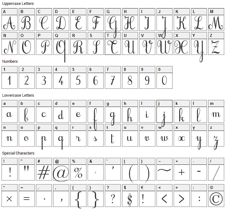 Cursif Font Character Map