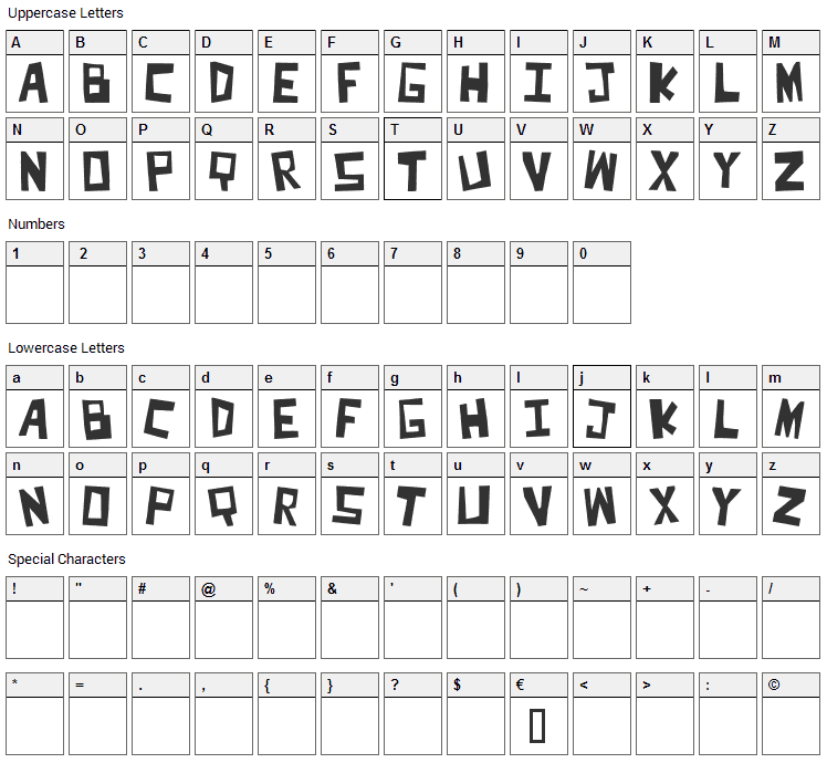 Cut It Out Font Character Map