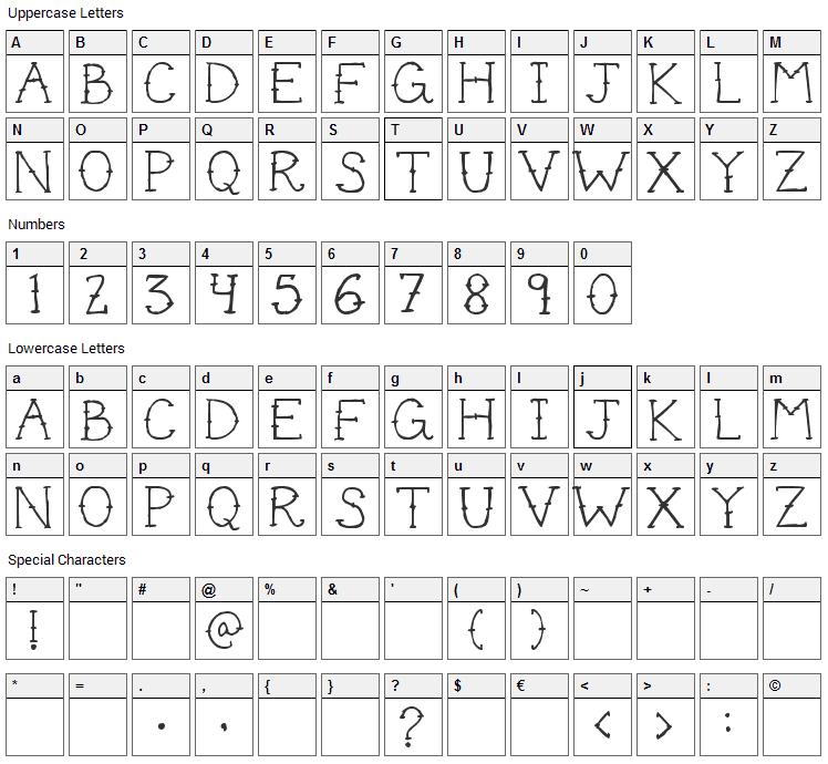 Cute Tattoo Font Character Map
