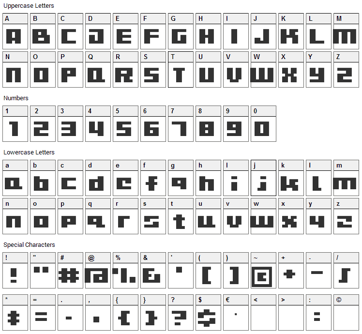 CuteBitMapism Font Character Map