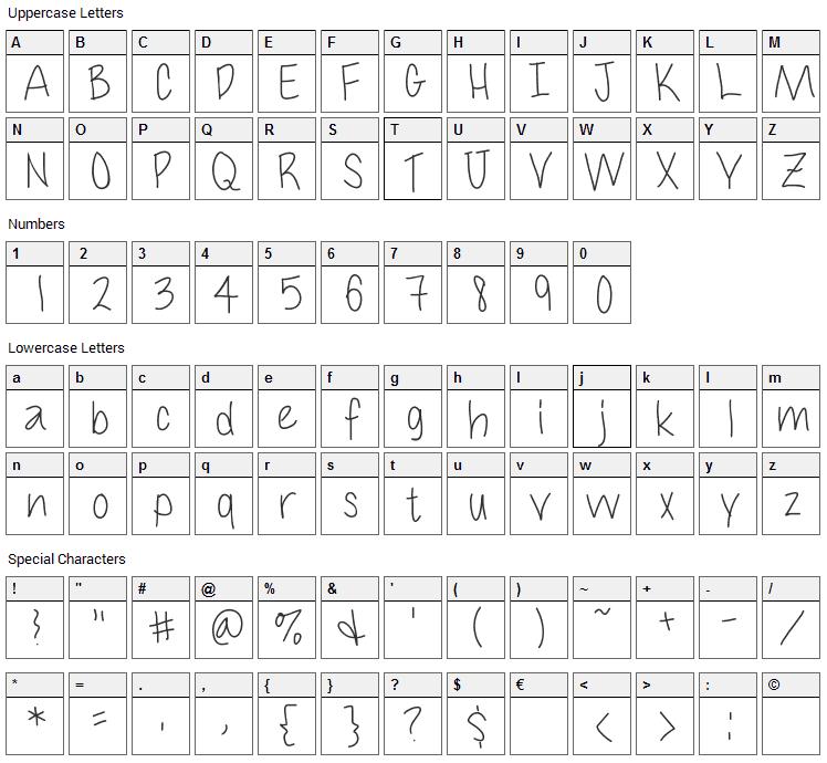 Cuteness Font Character Map
