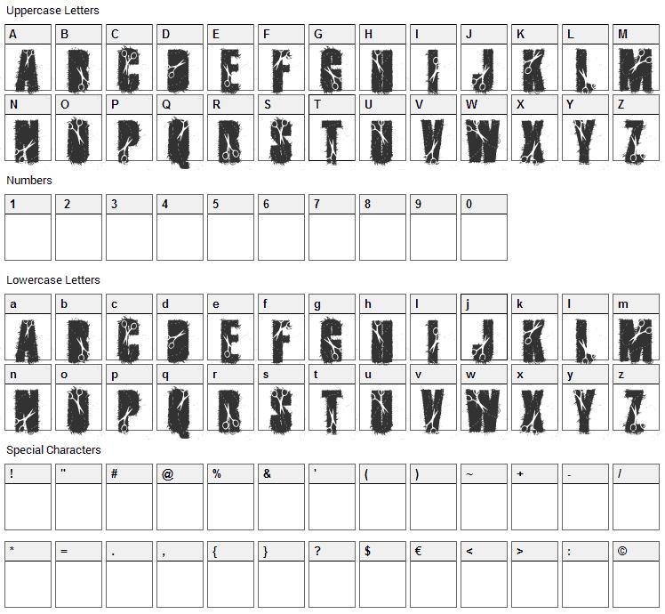 Cutter Font Character Map