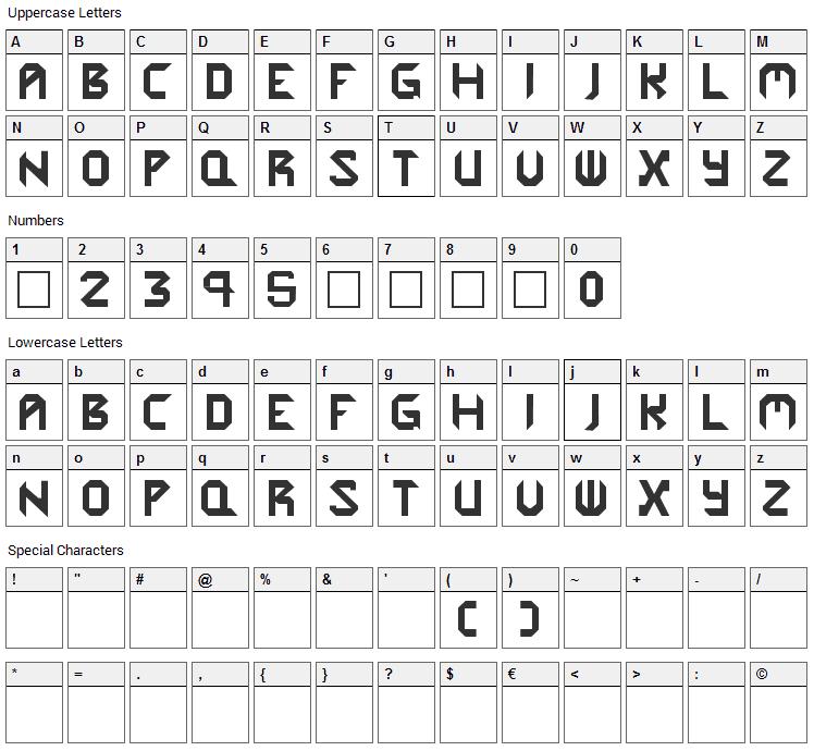 Cybergenics Font Character Map
