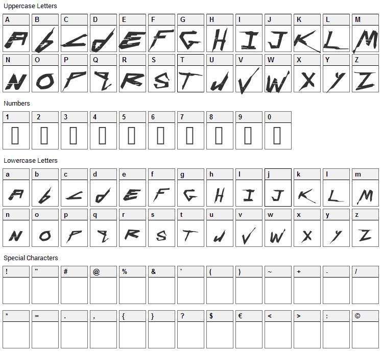 Cyberpunk Font Character Map