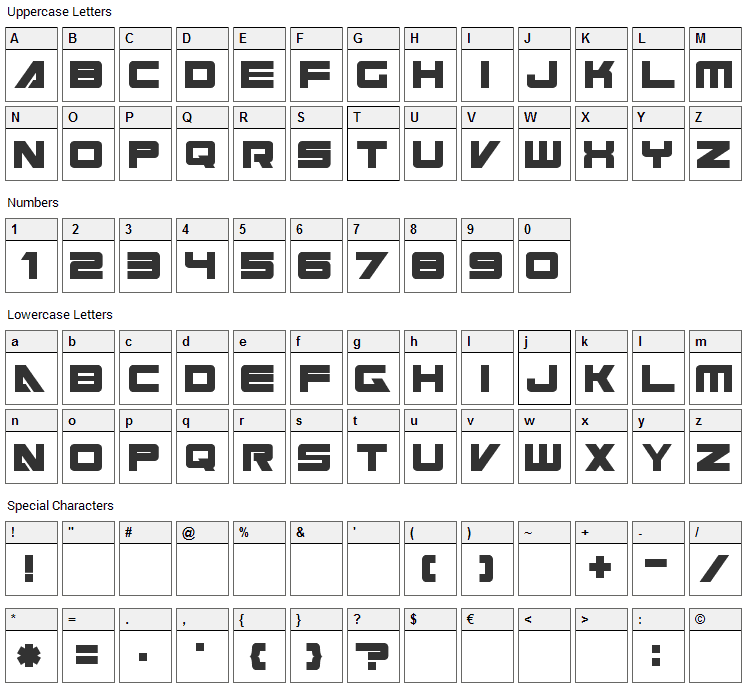 Cyberspace Font Character Map