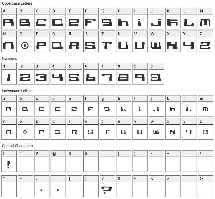 Cybertown Subterranean Font Character Map
