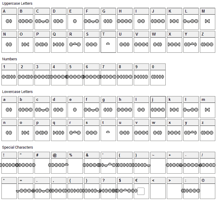 Cybertron OpCode Font Character Map