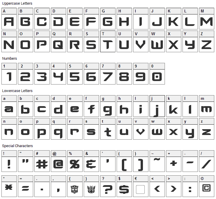 Cyberverse Font Character Map